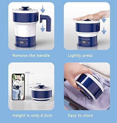 Leilims Voyage Pliable Bouilloire électrique - LED Display- de qualité Alimentaire en Silicone, for Collapses Facile Rangement Pratique, 0.6l, 1200W
