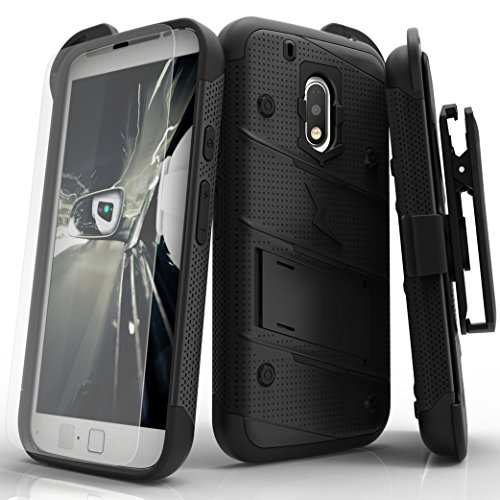Zizo Bolt Series Compatible with Motorola Moto g4 Play Case Military Grade Drop Tested with Tempered Glass Screen Protector, Holster Black