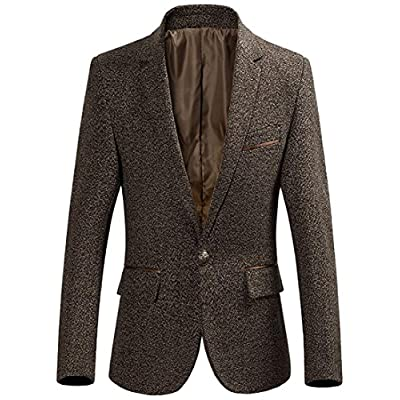 ainr Men's Casual Fit One Button Notched Lapel Tweed Blazer Suit Jacket for cheap