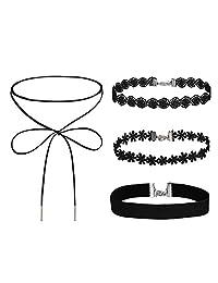 Choker Black Velvet 2-4 Pcs Ribbon Gothic Collar Velvet Necklace Girls Classic