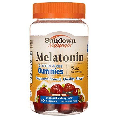 Sundown Naturals Melatonin 5 Milligram Gummies (Count 60), Strawberry Flavored, Supports Sound, Quality Sleep Non-GMO, No Artificial Flavors by Sundown