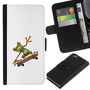 EJOY---La carpeta del tirón la caja de cuero de alta calidad de la PU Caso protector / Apple Iphone 6 / --Sk8 Rana Monopatín Hip blanco limpio
