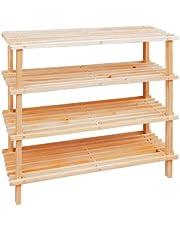 Premier Housewares 4-traps houten schoenenkast, cederhout, natuurlijk, 27 x 74 x 69