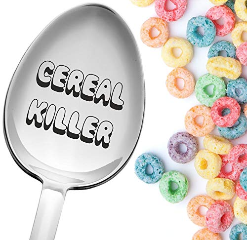 Engraved Spoon Cereal Killer Spoon Limited Edition   Clear and Visible Inscription, Size of Large Tablespoon   Premium Stainless Steel Cereal Spoon   Funny, Cute and Cool Present