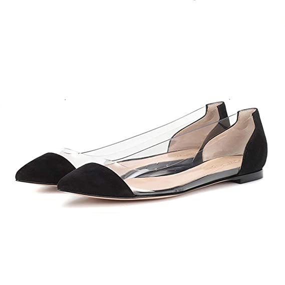 3f6a6ace9c99 Amazon.com  Shusuen ✿‿✿ Women Plus Size Flat Shallow Boat Shoes Comfortable  Working Pointed Soft Wedding Shoes  Clothing