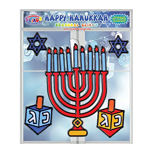 Happy Hanukkah Seasonal Flexible Gel Clings – Reusable Window Clings for Kids and Adults - Incredible Gel Decals of Dreidel, Menorah, Star of David, Chanukah and More