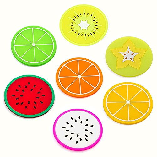 Hosaire 7 Pcs Silicone Coaster Fruit Slice Unique Eye Catching Especially Design for Your Bar Kitchen Patio