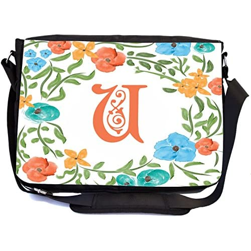 Rikki Knight Letter U Monogram Floral Art Peachy Blue Design Design Multifunctional Messenger Bag - School Bag - Laptop Bag - with padded insert for School or Work - Includes Matching Compact Mirror