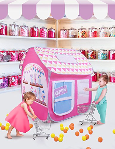SUGAR Q Breathable Extra Large Portable Folding Pop-Up Candy Shop Pretend Play Tent Playhouse Play Hut Ball Pit Pool Toy,Kids Girl/Boy Birthday Gift Party Indoor/Outdoor - Hut Shop