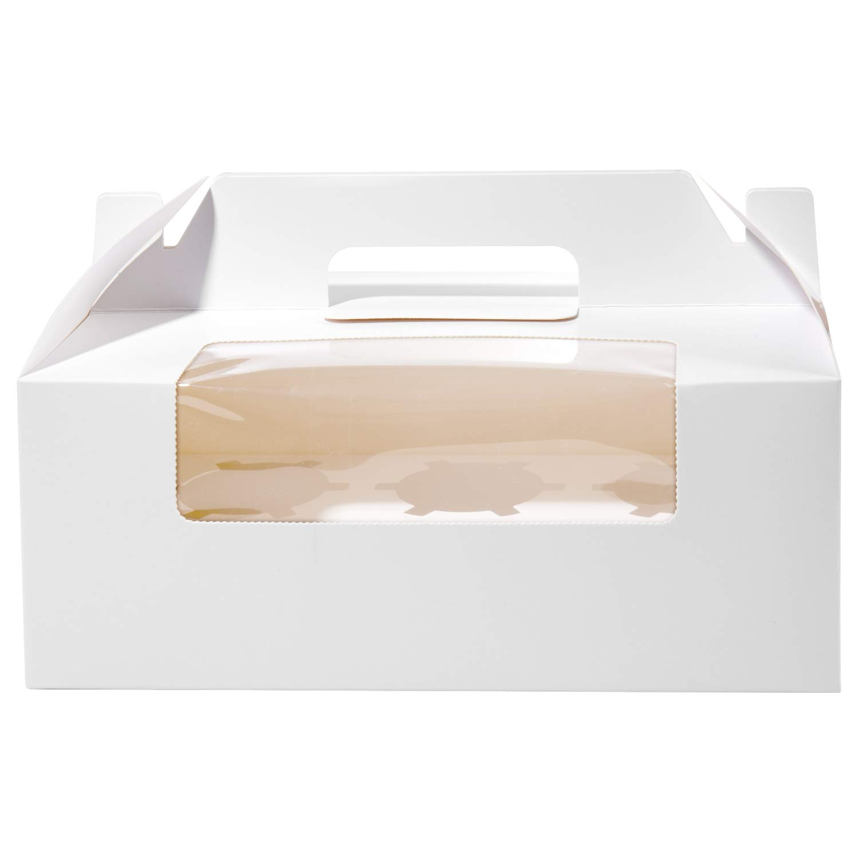 Vordas Scatole per Cupcake, 12 Pezzi Scatole per Muffin con Finestra Trasparente e Inserti per 6 Cupcake, Perfetto per Decorare Torte e Fare Dolci ai Tuoi Amici (Bianco)