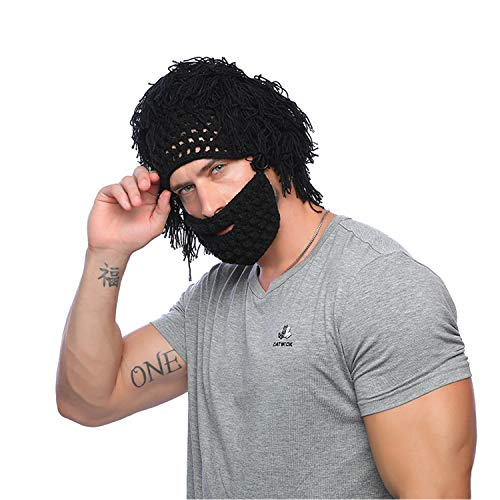 Jenny Shop Beard Wig Hats Handmade Knit Warm Winter Caps Men Women Kid (Black, Adult)