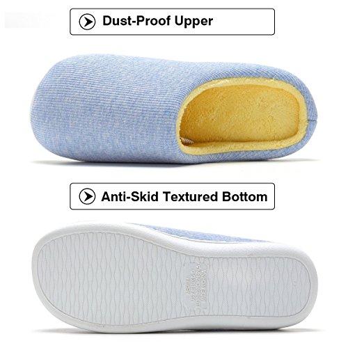 skid Grayish Foam Comfort Slipper Manzi Women's Blue Anti Two Tone House Memory Slippers Cozy 0Hw0PRYq