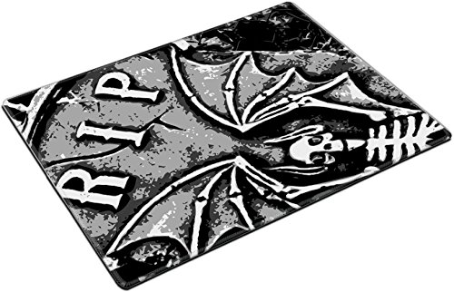 MSD Place Mat Non-Slip Natural Rubber Desk Pads design: 1852043 halloween grunge RIP bat skeleton wings on tombstone (Tombstone Quotes For Halloween)