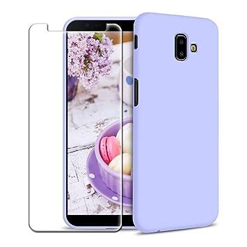 Funda Samsung Galaxy J6 Plus (2018) + Protector de Pantalla de Vidrio Templado, Carcasa Ultra Fino Suave Flexible Silicona Colores del Caramelo ...