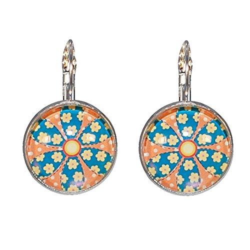 Créative Perles - Boucles d'oreilles Cabochon rond fleur retro - Bleu