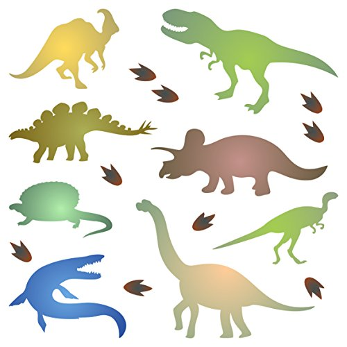 Dinosaur Silhouette Stencil - 4.5 x 4.5 inch (S) - Reusable Kids Animal Jurassic Period Stencil Template - Use on Paper Projects Scrapbook Bullet Journal Walls Floors Fabric Furniture Glass Wood etc.