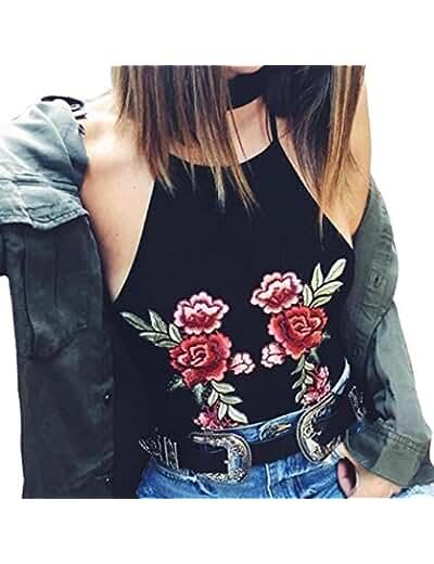 Malloom Women's Sleeveless Crop Tops Vest Backless Halter Tank Blouse T-Shirt