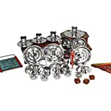 CwC Dinner Set of 24 Pieces Includes 6 pure stainless steel Plates , 6 STAINLESS STEEL BOWLS , 6 STAINLESS STEEL GLASSES AND 6 STAINLESS STEEL QUARTER PLATES