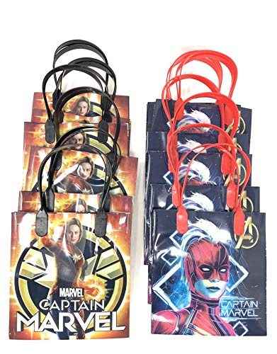 Marvel Captain Marvel Premium Quality Party Favor Goodie Small Gift Bags 12 Pcs