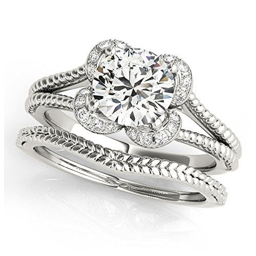 14K White Gold Unique Wedding Diamond Bridal Set Style MT50966