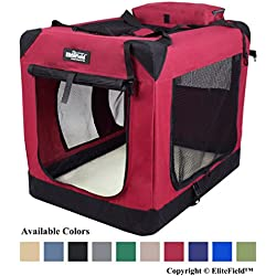 "EliteField 3-Door Folding Soft Dog Crate, Indoor & Outdoor Pet Home, Multiple Sizes and Colors Available (30"" L x 21"" W x 24"" H, Maroon)"