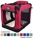 EliteField 3-Door Folding Soft Dog Crate, Indoor & Outdoor Pet Home, Multiple Sizes and Colors Available (20'L x 14'W x 14'H, Maroon)