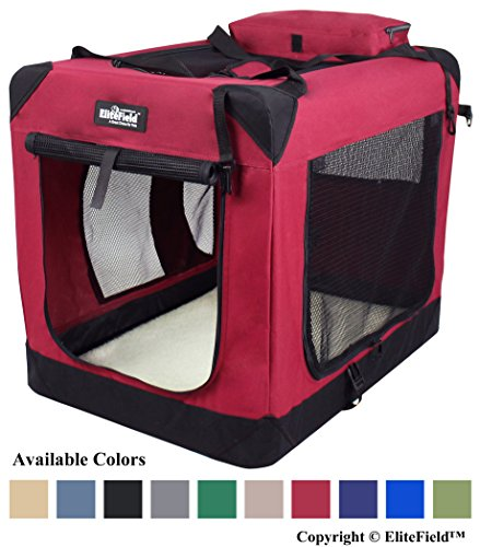 EliteField 3-Door Folding Soft Dog Crate, Indoor & Outdoor Pet Home, Multiple Sizes and Colors Available (42
