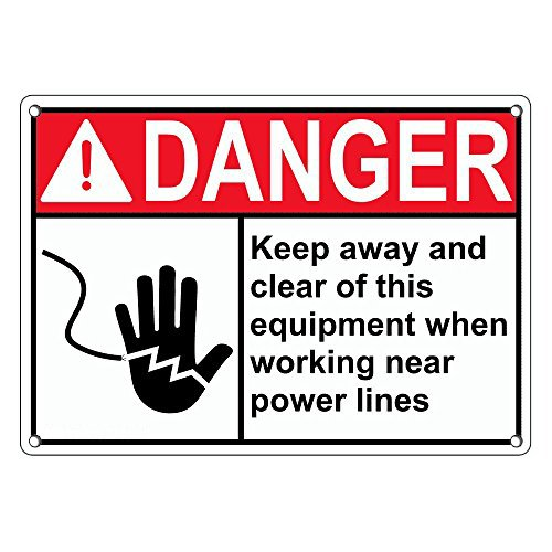 (Weatherproof Plastic ANSI Danger Keep Away Clear This Equipment Power Lines Sign with English Text and Symbol)