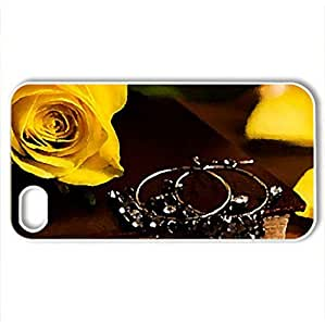yellow rose - Case Cover for iPhone 4 and 4s (Flowers Series, Watercolor style, White)