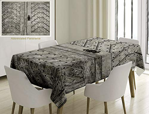 Unique Custom Cotton and Linen Blend Tablecloth Rustic Decor Collection Old Door Exit Brads Nailed Penal Old Fashioned Culture Middle Ages Artwork PriTablecovers for Rectangle Tables, 86 x 55 inches