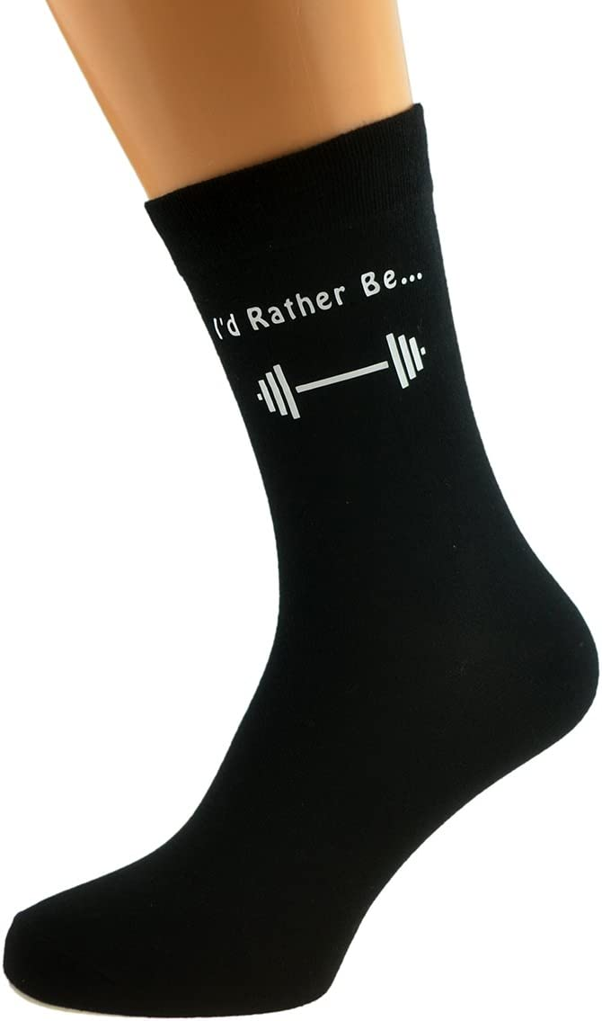 Id Rather be Weightlifting with Dumbbell Image Design Mens Black Cotton Rich Socks