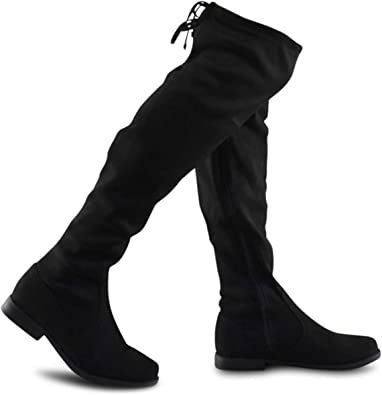 Girl/'s Premium Back Lace Over The Knee String Tie Thigh High Riding Suede Boots