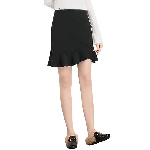 TSINYG Falda de cola de pescado irregular de cintura alta de moda ...