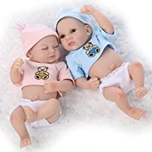 SanyDoll Lifelike New Baby Alive Twins Washable Full Silicone Doll Toys Gift Boy and Girl 11inch 25cm