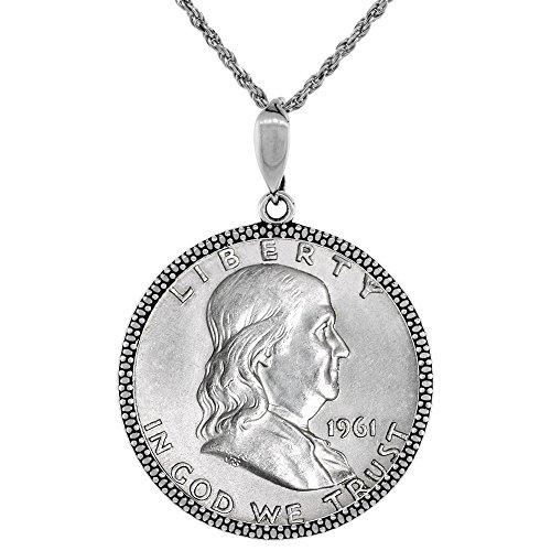 Sterling Silver Franklin Half Dollar Coin Necklace Illusion Diamond 1948 - 63