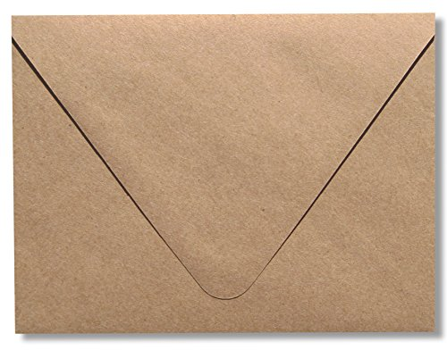 Contour Euro Flap Kraft Grocery Bag Brown 50 Boxed A7 -70lb Envelopes (5-1/4 x 7-1/4) for Invitations Announcements Weddings by The Envelope Gallery