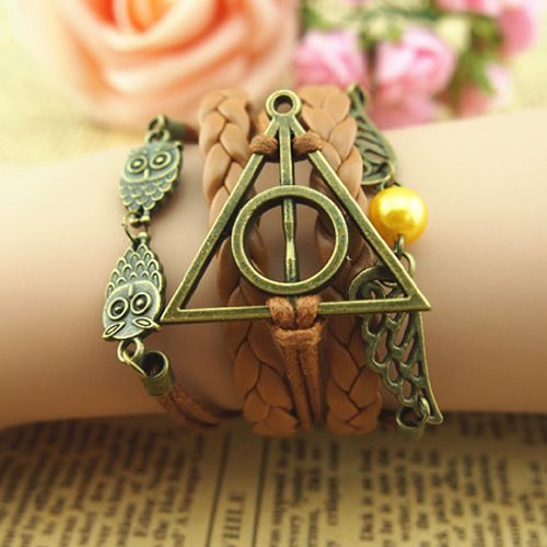 Harry Potter Deathly Hallows, Infinity, Owl, Believe Freedom Braided Leather Bracelet (Style H-FastShip)