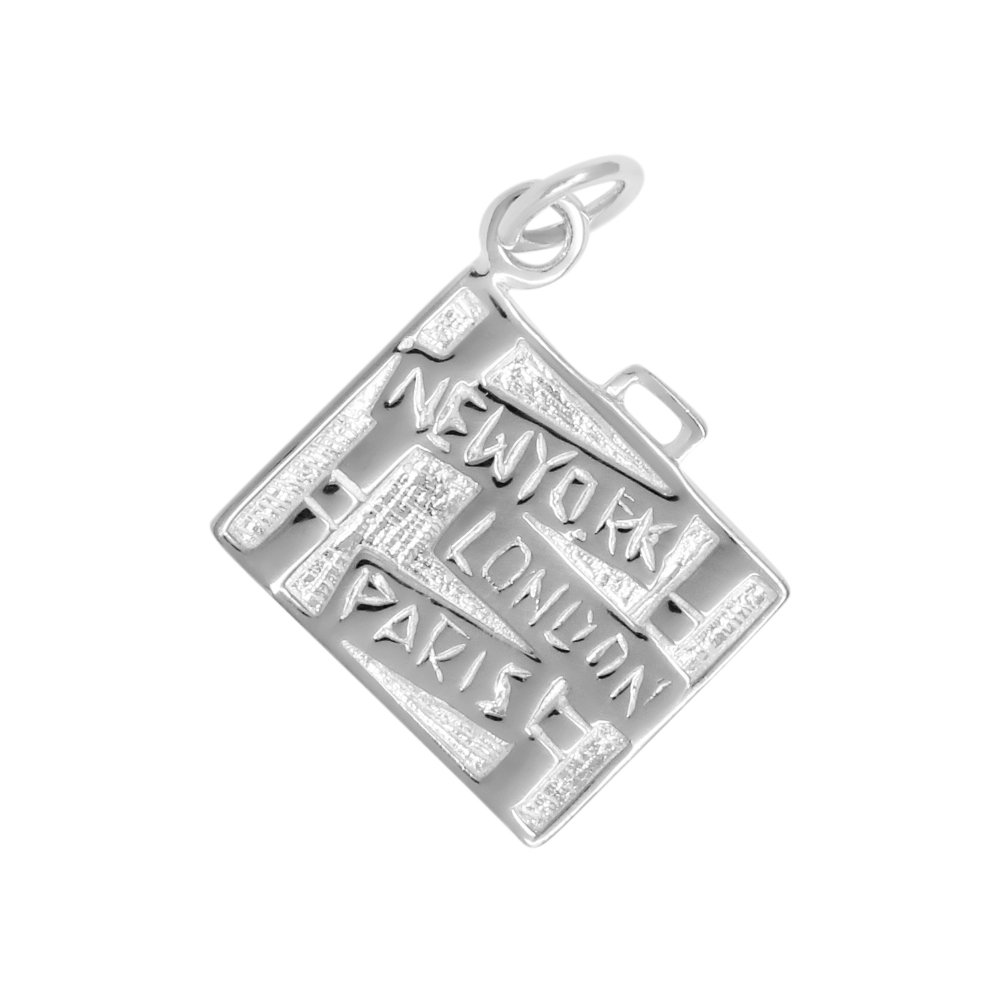 Sterling Silver Travel Luggage Charm Pendant (Approximately 18 x 18 mm)