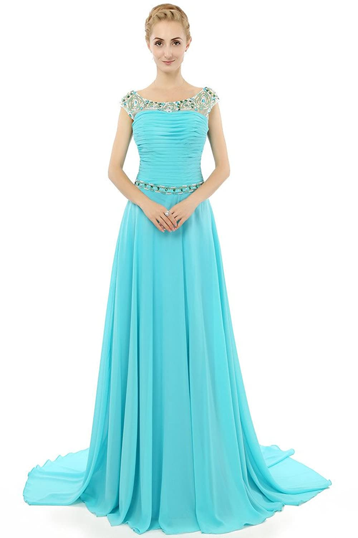 HONGFUYU Charming Cap Sleeves Pearls Chiffon Ruched Long Formal Bridesmaid Party Prom Evening Dress