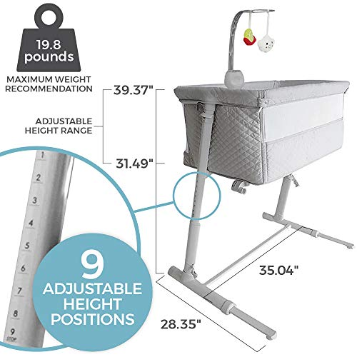 51E7pVQ9A4L - Baby Bassinets – Adjustable And Easy To Assemble Bassinet For Baby, Lightweight Baby Bassinet And Bedside Sleeper For Safe Co-Sleeping With Detachable Side Panel, CPSC And ASTM Certified Moses Basket