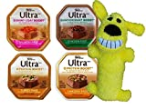 Nutro Ultra Dog Food 4 Flavor 8 Can with Toy Bundle: (2) Shiny Coat Boost Salmon, (2) Anitoxidant Boost Chicken, (2) Protein Boost Turkey & (2) Protein Boost Chicken, 3.5 Oz Ea (8 w/Toy)