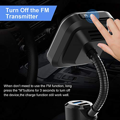 Car Bluetooth FM Transmitter FM Radio Adapter Handsfree Car Kit 1.7 Inch Screen with Bass Switch, 2.4A and QC3.0 USB Ports, Support for USB Drive, MicroSD, AUX Input/Output, TF Card Mp3 Player (Black)