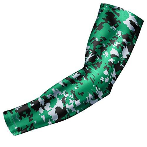 (Moisture Wicking Sports Compression Arm Sleeve - Youth & Adult Sizes - Baseball Football Basketball (Green Digital Camo,)