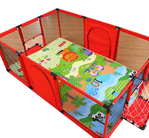 Baby Playpens Red Extra Large with Soft Spong Pad and 200 Ocean Balls, Baby Kids Play Pens 4 Panel Kids Activity Center Room for Infant, Indoor Outdoor New Pen (Size : 180x120cm) by Baby Playpens (Image #2)