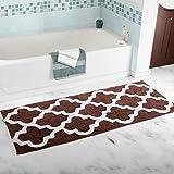 Kitchen Rugs Geometric Homcomoda Microfiber Bathroom Shower Rug Geometric Bath Mats Washable Kitchen Floor Mats-17.72 by 47.24 Inch (Coffee)