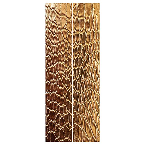 3d Door Wall Mural Wallpaper Stickers [ Animal Print Decor,Tint Golden Crocodile Skin Nature Life Toughness High End Design Artwork,Gold ] Mural Door Wall Stickers Wallpaper Mural DIY Home Decor ()