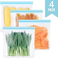 Reusable Sandwich & Snacks Bags, Reusable Ziplock Storage Bags Freezer Safe, Extra Thick PEVA Material BPA/Plastic Free…