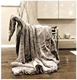Double Sided Faux Fur Throw Blanket Silky Soft Oversized Afghan Machine Washable, Grey Striped Mink Chinchilla Shadow Fox 55 by 70 Inch (X-Long Coffee)