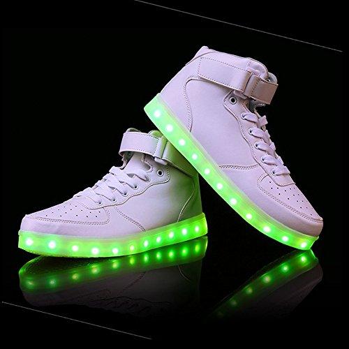 Aidonger Unisex Erwachsene High-Top LED Schuhe Sneaker Sportschuhe USB Lade Outdoor Leichtathletik beiläufige Paare Schuhe Weiß