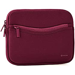iPad Mini 4 sleeve, Evecase Smile Padded Neoprene Zipper Carrying Sleeve Case Bag with Front Accessory Pocket for iPad Mini 4, 3, 2 / Android 7 - 8 inch Tablet Device - Red